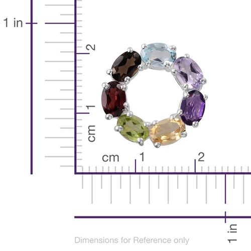 Mozambique Garnet (Ovl), Rose De France Amethyst, Sky Blue Topaz, Hebei Peridot, Amethyst, Citrine and Brazilian Smoky Quartz Circle of Life Pendant in Sterling Silver