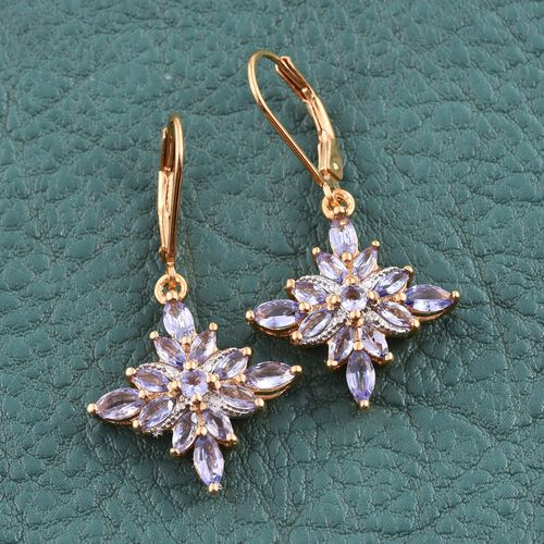 Tanzanite (Mrq), Diamond Lever Back Earrings in 14K Gold Overlay Sterling Silver 2.010 Ct.
