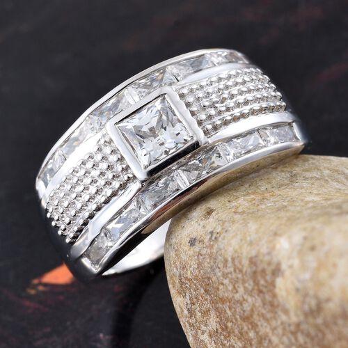 J Francis - Platinum Overlay Sterling Silver (Sqr) Ring Made with SWAROVSKI ZIRCONIA