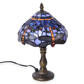 Luxury Edition -  Hand Made -Tiffany Style Table Lamp with Stained Glass Mosaic Shade with Dragonfly Design (Size 20 cm diameter x 35 cm H)