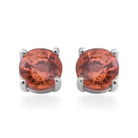 Madagascar Sunset Sapphire (Rnd) Stud Earrings (with Push Back) in Rhodium Overlay Sterling Silver