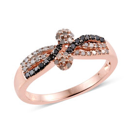 0.33 Carat Black And  White Diamond Twin Floral Ring in Rose Gold Overlay Sterling Silver
