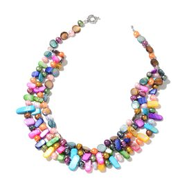 Fresh Water Multi Colour Pearl and Multi Colour Shell Necklace (Size 20) in Silver Plated