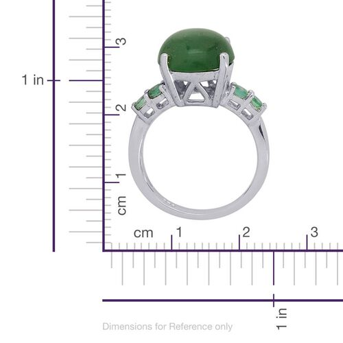 Emerald Quartz (Rnd 4.25 Ct), Kagem Zambian Emerald Ring in Platinum Overlay Sterling Silver 4.500 Ct.