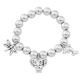 Designer Inspired Sterling Silver Dragonfly, Owl and Dolphin Charm Stretchable Bracelet (Size 7.5), Silver wt 25.12 Gms.