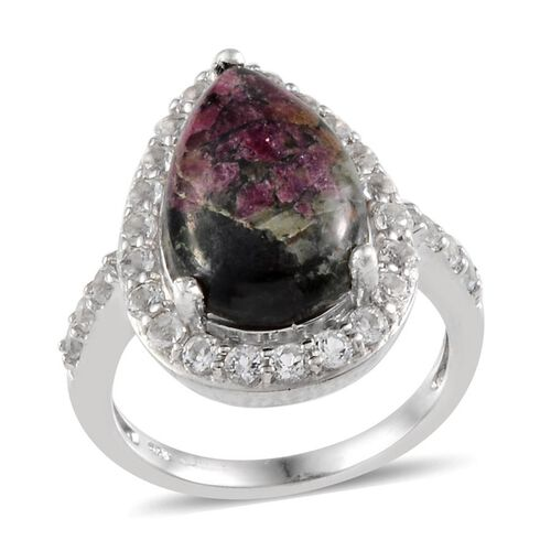 Natural Russian Eudialyte (Pear 4.50 Ct), White Topaz Ring in Platinum Overlay Sterling Silver 5.650 Ct.
