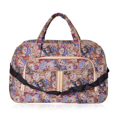Beige Teddy Bear Pattern Jacquard Tote Bag with Adjustable Shoulder Strap (Size 52X31X17.5 Cm)