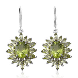 Very Rare Manchurian AAA Peridot (Ovl) Lever Back Earrings in Rhodium Plated Sterling Silver 9.750 Ct.
