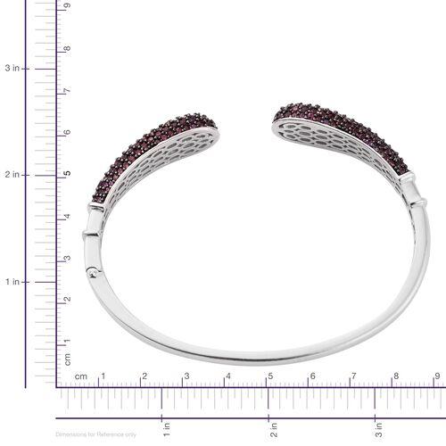 Designer Inspired - Rhodolite Garnet (Rnd) Bangle (Size 7.5) in Black Rhodium and Platinum Overlay Sterling Silver 8.750 Ct.No Of Stones 270. Silver wt. 21.20 Gms.