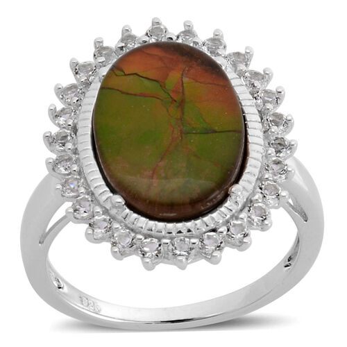 Canadian Ammolite (Ovl 3.50 Ct), White Topaz Ring in Rhodium Plated Sterling Silver 4.250 Ct.