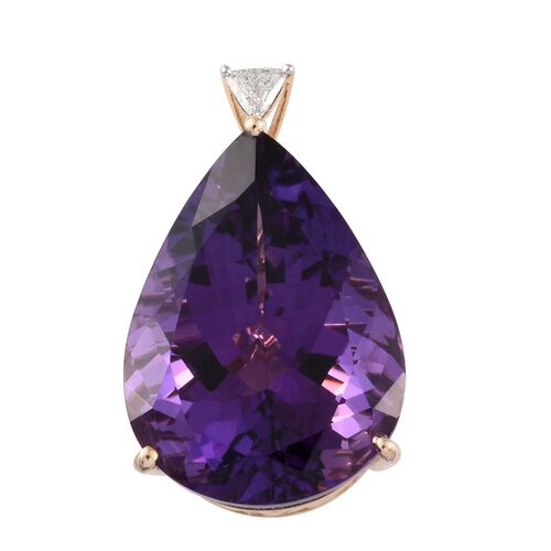 9K Y Gold AAA Zambian Amethyst (Pear), Diamond Pendant  40.200 Ct.