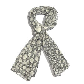 RACHEL GALLEY Pebble Design Digital Printed Grey and White Pareo Scarf (Size 180x70 Cm)