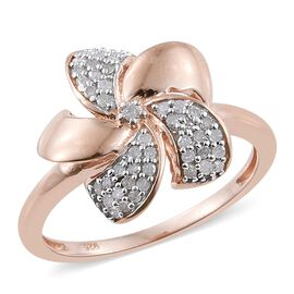 0.25 Carat Diamond Floral Ring in Rose Gold Overlay Sterling Silver