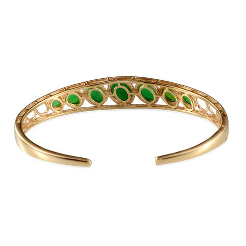 Green Ethiopian Opal (Ovl 1.25 Ct) Cuff Bangle in 14K Gold Overlay Sterling Silver (Size 7.5) 5.150 Ct.