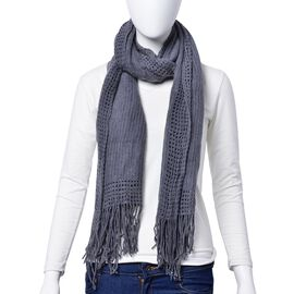 Grey Colour Checks and Hollowed Out Pattern Scarf with Tassels (Size 160x50 Cm)