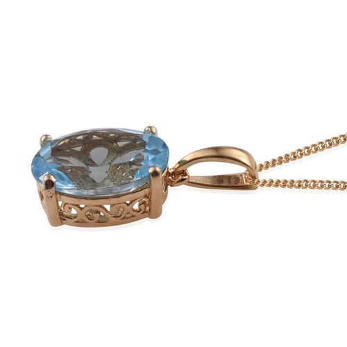 Swiss Blue Topaz (Ovl) Solitaire Pendant With Chain in 14K Gold Overlay Sterling Silver 7.250 Ct.
