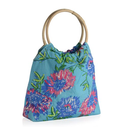 Sicily Pink and Multi Colour Floral and Leaves Pattern Turquoise Blue Colour Handbag with Sequins (Size 38x30x9 Cm)
