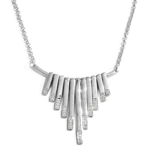 Diamond 0.15 Ct Silver Waterfall Necklace in Platinum Overlay (Size 18) I4/I