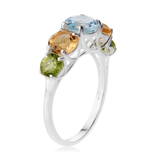 Sky Blue Topaz (Rnd), Citrine and Hebei Peridot Ring in Sterling Silver 4.250 Ct.
