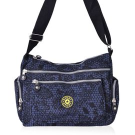 Navy and Black Colour Floral and Polka Dots Pattern Multi Pocket Waterproof Crossbody Bag with Adjustable Shoulder Strap (Size 27.5X20X11 Cm)