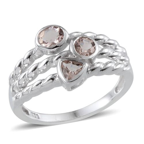 Marropino Morganite Ring in Platinum Overlay Sterling Silver 0.750 Ct.