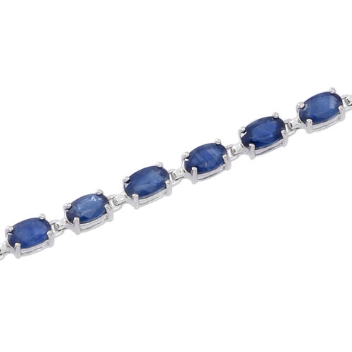 9K White Gold 9.25 Ct AA Kanchanaburi Blue Sapphire Tennis Bracelet (Size 7.5)