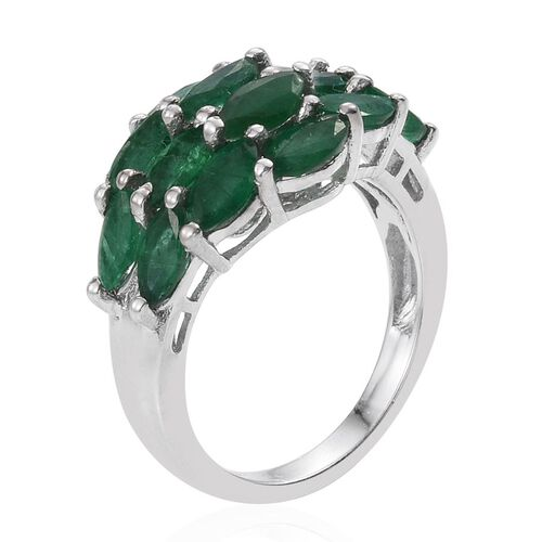 Kagem Zambian Emerald (Mrq) Ring in Platinum Overlay Sterling Silver 3.000 Ct.