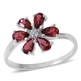 Mozambique Garnet (Pear), Natural White Cambodian Zircon Flower Ring in Sterling Silver 2.000 Ct.