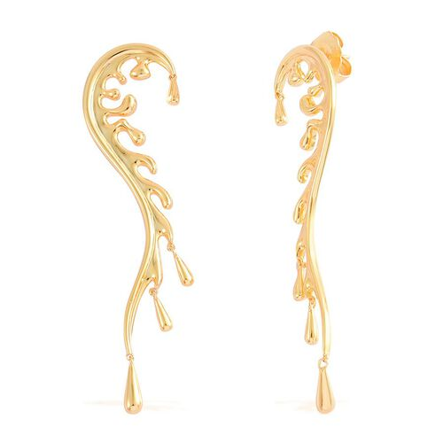 LucyQ Motion Wave Earrings (with Push Back) in Yellow Gold Overlay Sterling Silver 10.64 Gms.