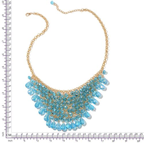Simulated Sky Blue Topaz BIB Necklace (Size 20 with 3 inch Extender) in Yellow Gold Tone