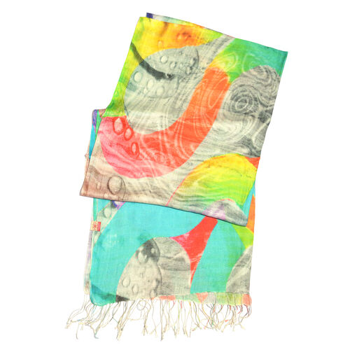 100% Katan Silk Turquoise, Pink and Multi Colour Digital Print Abstract Pattern Scarf with Tassels (Size 200X70 Cm)