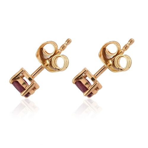 Rare Mozambique Grape Colour Garnet (Ovl) Stud Earrings (with Push Back) in 14K Gold Overlay Sterling Silver 0.500 Ct.