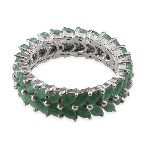 Kagem Zambian Emerald (Mrq) Full Eternity Ring in Platinum Overlay Sterling Silver 3.500 Ct.