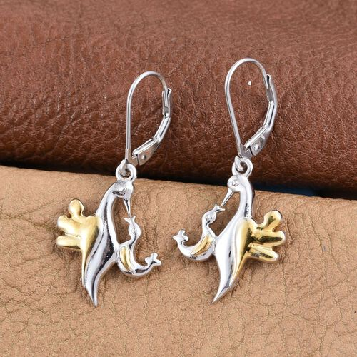 Mother Bird Earrings in Platinum and Yellow Gold Overlay Sterling Silver with Lever Back 6.29 Gms.