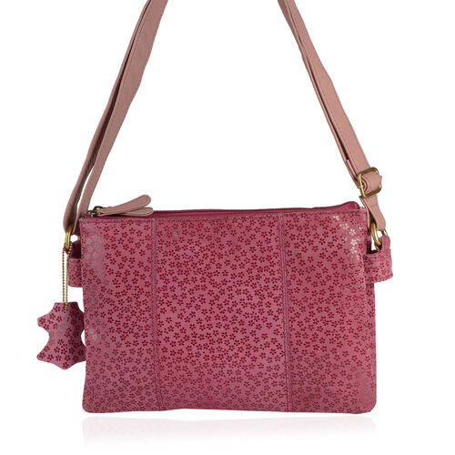 Limited Collection Genuine Leather RFID Blocker Floral Pattern Fuchsia Colour Sling Bag with External Zipper Pocket and Adjustable Shoulder Strap (Size 29X20X4 Cm)