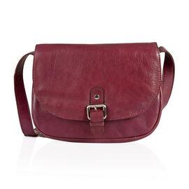 LIMITED STOCK 100% Genuine Leather RFID Blocker Burgundy Colour Sling Bag with External Pocket and Adjustable Shoulder Strap (Size 25X19X7 Cm)