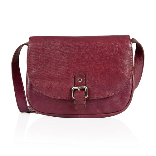 LIMITED STOCK Genuine Leather RFID Blocker Burgundy Colour Sling Bag with External Pocket and Adjustable Shoulder Strap (Size 25X19X7 Cm)