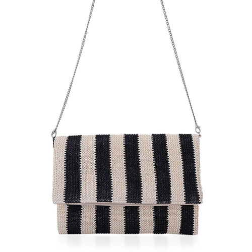 Stripe Straw Clutch Bag With Removable Chain (Size 12x8 inch)