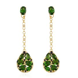 GP Russian Diopside (Ovl), Madagascar Blue Sapphire, Boi Ploi Black Spinel and Natural Cambodian White Zircon Dangle Earrings (with Push Back) in Yellow Gold Overlay Sterling Silver 7.340 Ct.