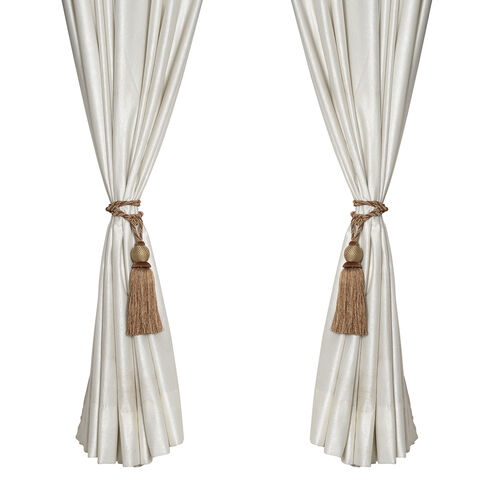 Pair of Dark and Light Brown Colour Tassel Curtain Tiebacks (Size 66 to 68.5 Cm)