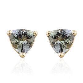 9K Yellow Gold 1 Ct AA Green Tanzanite Stud Earrings (with Push Back)