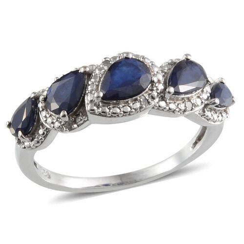 Diffused Blue Sapphire (Pear 0.75 Ct), Diamond Ring in Platinum Overlay Sterling Silver 2.050 Ct.