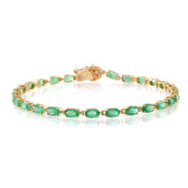 9K Yellow Gold AAA Kagem Zambian Emerald (Ovl), Diamond Bracelet (Size 7.5) 6.000 Ct.