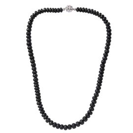 Limited Edition Rare Australian Midnight Tourmaline (Rnd) Beads Necklace (Size 20) with Magnetic Clasp in Platinum Overlay Sterling Silver 325.680 Ct