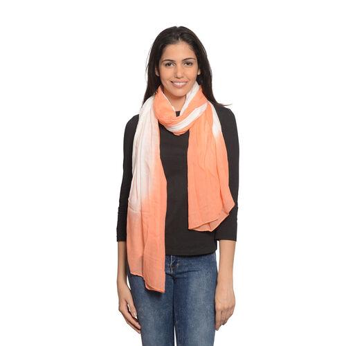 Light Orange and White Colour Scarf (Size 180x100 Cm)
