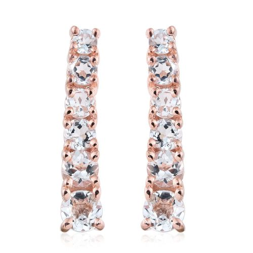Espirito Santo Aquamarine 1.44 Ct Silver Climber Earrings in Rose Gold Overlay