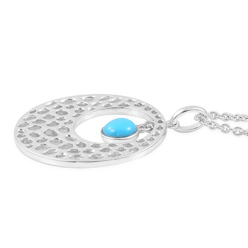 RACHEL GALLEY Arizona Sleeping Beauty Turquoise (Rnd) Off Center Pendant With Chain (Size 20) in Rhodium Plated Sterling Silver. Silver Wt 12.75 Gms