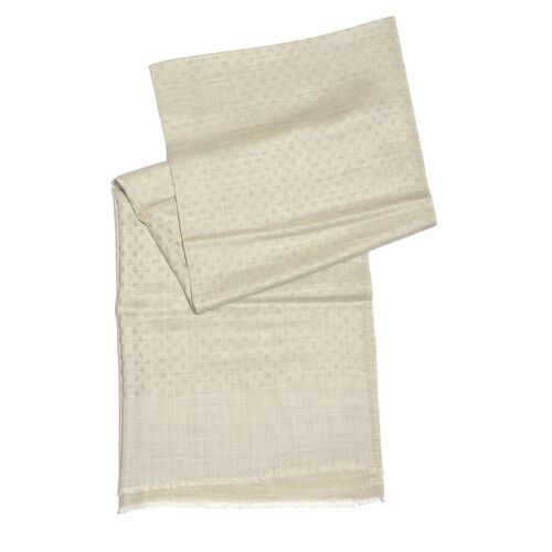 100% Cashmere Wool Cream Colour Polka Dots Pattern Scarf (Size 200x70 Cm)