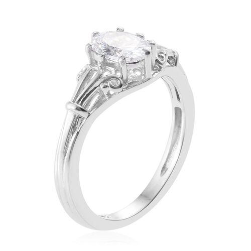 J Francis - Platinum Overlay Sterling Silver (Rnd) Solitaire Ring Made with SWAROVSKI ZIRCONIA