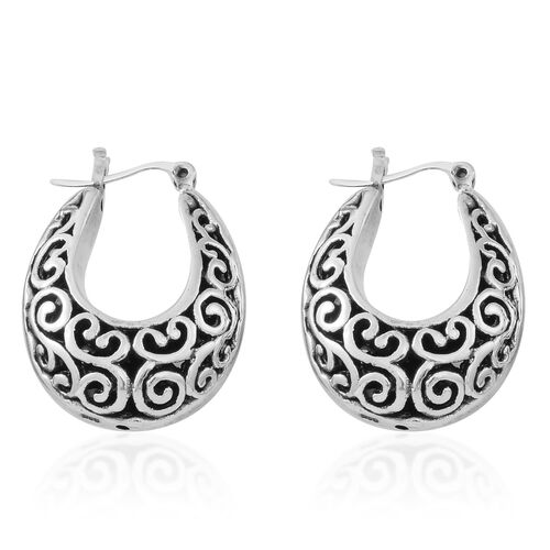 Sterling Silver Filigree Hoop Earrings (with Clasp), Silver wt. 10.10 Gms.